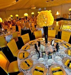 Pittsburgh Pirates Baseball Themed Wedding Reception Table.  Love the use of color here to embrace the team theme without logos and baseballs.  #baseballwedding