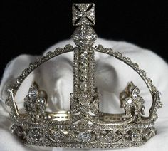 Queen Victoria's small diamond crown was created at the request of Queen Victoria in as she found the Imperial State Crown too heavy. It is part of the Crown Jewels in The Tower of London, England, UK Royal Crown Jewels, Royal Crowns, Royal Tiaras, Royal Jewelry, Tiaras And Crowns, Pageant Crowns, Jewellery, Queen Victoria Crown, Imperial State Crown