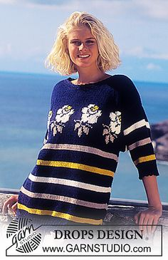 Ravelry: 34-1 Short sleeved sweater with stripes and roses. pattern by DROPS design