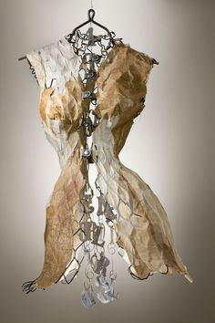 "Creative, Intriguing ART by Marilyn Stevens - A very special artist to share with you today, Marilyn Stevens. ""Insufficient Distance"" by Marilyn Stevens I came across the work of Artist M Mannequin Art, Dress Form Mannequin, Sculpture Projects, Sculpture Art, Textile Design, Textile Art, A Level Textiles, Gcse Art, Assemblage Art"