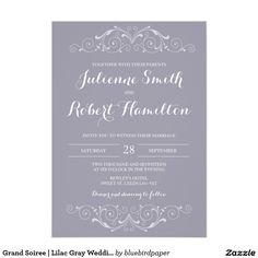 Layout idea. Grand Soiree | Lilac Gray Wedding Invitations