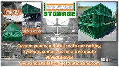 Free quote, delivery, installation, high pile permits, start order right away, we fabricate our own industrial racking systems, industrial materials, mezzanines and much more ! Contact us at 909-793-5914 industrialstoragesolutionsinc.com