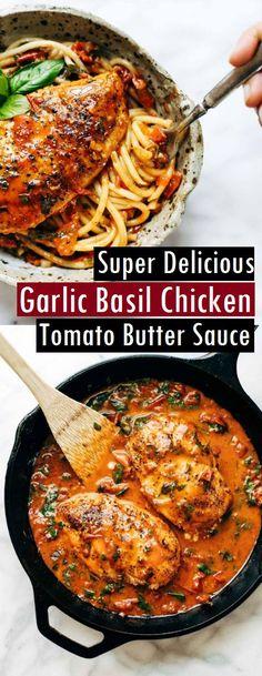 Garlic Basil Chicken with Tomato Butter Sauce - Jennifer Velez Food Chicken Basil Recipes, Canned Tomato Recipes, Garlic Basil Chicken, Pasta Recipes, Cooking Recipes, Chicken With Basil, Duck Recipes, Yummy Recipes, Recipies