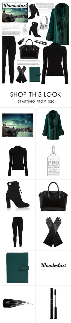 """""""Prague Travel Outfit"""" by glamorous09 ❤ liked on Polyvore featuring Misha Nonoo, Jet Set Candy, Gianvito Rossi, Givenchy, Levi's, Aquatalia by Marvin K., TravelSmith, White Label, Urban Decay and Master & Dynamic"""