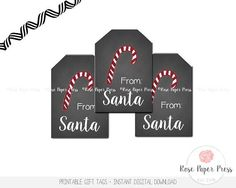 Santa Gift Tags | Holiday Gift Tags, Christmas Gift Tags | Printable Gift Tags, Digital Download, Christmas Tag, Holiday Tag, Santa Gift Tag  These Santa gift tags are an original design of Rose Paper Press, available as an instant digital download. Print as many tags as you need, cut the tags out, and attach to holiday gifts. If desired, you can hand-write a custom message on the back. This is a high-resolution (300 dpi) digital file ready for you to print yourself. You will not receive any…
