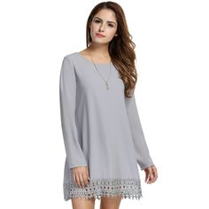 White Long Sleeve Crochet Lace Fringed A-Line Casual Dress