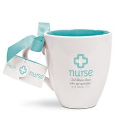 You are always looking for special gifts to give to an extraordinary nurse you know. The beautifully designed Cup of Hugs for a Nurse is white with a colorful blue interior, a matching card that hangs from the handle with a blue ribbon and an encouraging note that expresses appreciation to the nurse. It features Matthew 5:7. The cup holds 14 ounces of hot or cold liquids. You will want to give one to a nurse you know as a gift for any occasion. Price: $9.99