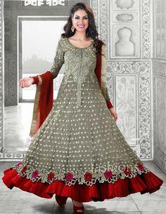 USD 137.08 Grey Embroidered Chiffon Designer Anarkali Salwar Kameez 27275