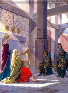 One of the guys is crying...the beauty of the harp. (visitors (aengus) by ted nasmith)