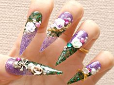 Stiletto nails, super long nails, purple, green, 3D nails, drag queen, Japanese 3D nails, claws, skull, rose, nail ring, alternative girl