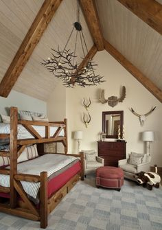 what a perfect little boys room!.  @Janalyn Pearson- this is totally what I picture for the boys in the cabin house.