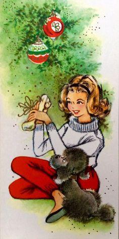 Vintage Christmas Card - girl and poodle