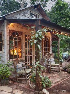 Jennys garden shed made with reclaimed building materials Living Vintage Garden Shed Diy, Diy Shed, Garden Cottage, Cottage Porch, Backyard Cottage, Garden Shed Interiors, Backyard Studio, Backyard Sheds, Outdoor Sheds
