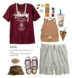 """""""this school s-hit is a dub """" by love-rebelwolf ❤ liked on Polyvore featuring Madewell, Armani Exchange, Converse, Casio, Fremada, MICHAEL Michael Kors, Bing Bang and Mudd"""