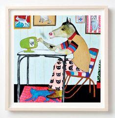 Művészet, nyomtatás, Ló, Cats, Humor, Lakberendezés, Cat Lovers, ajándék, Jojo Higgins Loved Cats de sajnos Mrs. Higgins nem engedte maga az egyik