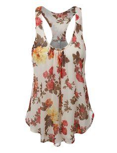 ab18f79884e86 LE3NO Womens Flowy Floral Print Chiffon Racerback Tank Top (CLEARANCE)