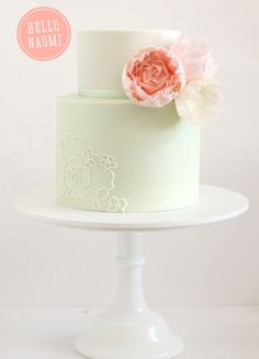 simple cake with fondant blooms