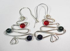 Silver Wire Wrapped Christmas Tree Earrings with Czech Glass beads | GemOnAWire - Jewelry on ArtFire