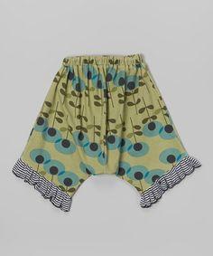 Look at this #zulilyfind! Green Mod Flower Harem Capri Pants - Infant, Toddler & Girls #zulilyfinds