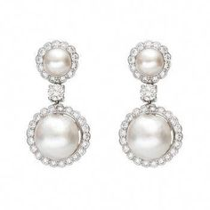 Diamond and Pearl Drop Earrings - See more stunning jewelry at StellarPieces.com! #SilverDropEarrings Pearl And Diamond Earrings, Silver Drop Earrings, Pearl Diamond, Pearl Jewelry, Wedding Jewelry, Pearl Necklace, Luxury Jewelry, Jewels, Diamonds