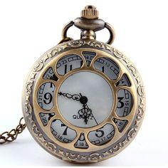Bronze Steampunk Quartz Pocket Watch Necklace