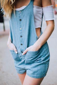 #summer #outfits Blue Romper + Blue Off The Shoulder Crop