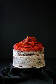 Vegan chocolate blood orange cake with whipped coconut cream