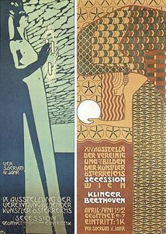 Posters for the Vienna Secession by (L): Koloman Moser (1902); and (R): Alfred Roller (1903 | Lawrence University