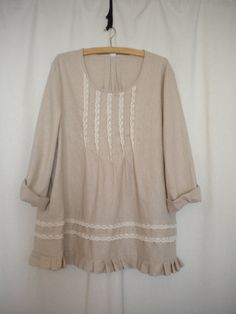 linen top tunic cotton lace in beige by EcoFriendlyForU on Etsy