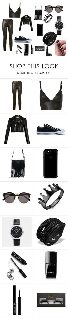 """""""black"""" by sofimedina-1 on Polyvore featuring Belleza, J Brand, T By Alexander Wang, Yves Saint Laurent, Converse, WithChic, Speck, Illesteva, Coach y Bobbi Brown Cosmetics"""