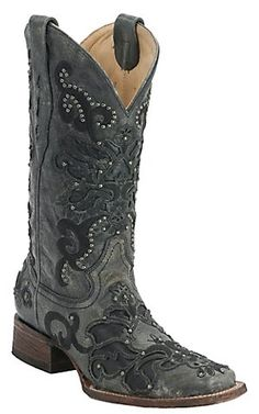 Corral Ladies Black Crater Overlay with Studs Square Toe Western Boots | Cavender's