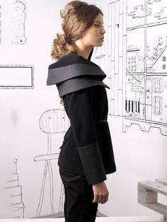 Black Paneled Velvet H-line Long Sleeve Coat - StyleWe.com