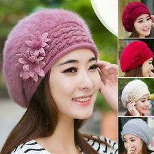 Flower Women's Winter Knit Crochet Slouch Baggy Beanie Hat Crochet Cap Beret New