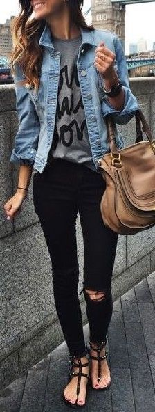 #fall #outfits / denim jacket + ripped denim