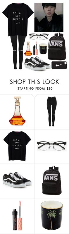 """""""Donghan"""" by amyliannebarlow ❤ liked on Polyvore featuring Topshop, Ace, Vans, Benefit, Halcyon Days and NIKE"""