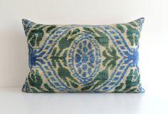 Blue Green Ikat Pillow - Decorative Couch Pillows Accent Pillow Silk Velvet Ikat Seat Cushion Ikat Velvet Pillow - Ikat Throw on Etsy, $65.00