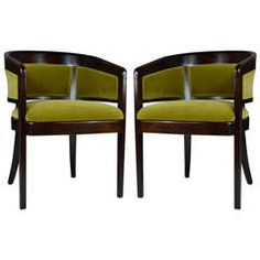 Pair of Chartreuse Mohair Armchairs by Edward Wormley