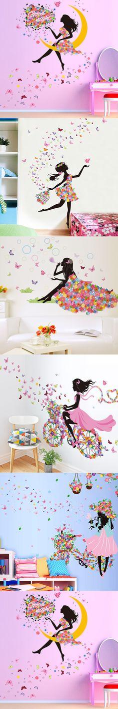 New Butterfly Flower Fairy Wall stickers for girls kids Bedroom Room u6802