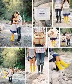 Fishing wedding cute wedding couples water outdoors nature rocks country Love the boots! Fishing Engagement Photos, Engagement Couple, Engagement Pictures, Engagement Shoots, Wedding Engagement, Wedding Pictures, Wedding Couples, Cute Couples, Wedding Ideas