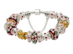 Bratara dama White Flower Red Murano Pandora Style Pandora Charms, White Flowers, Charmed, Bracelets, Red, Jewelry, Style, Fashion, Swag