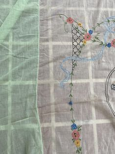 Vintage Antique Victorian Edwardian Twin Bed Sheet Sheer Green Coverlet with Flowers and a Bird Parrot Twin Bed Sheets, Colorful Flowers, Parrot, Vintage Antiques, Twins, Victorian, Bird, Side Panels, Blanket