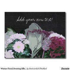 Winter Floral Drawing Effect Chalkboard Postcard