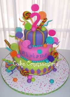 Definitely the cake! Candy Theme Cake, Candy Birthday Cakes, Candy Land Theme, Candy Cakes, Birthday Cake Girls, Candy Party, Birthday Parties, Birthday Ideas, 2nd Birthday