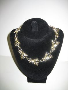 Vintage etched leaf link gold tone choker by watercolorsNmore, $8.99