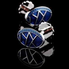 Blue Enamel Base Lines Pattern Cufflinks