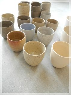 "A costum order from Restaurant Eendracht in rotterdam - ristretto natural ""rock"" cups - made of different high fired stoneware clays - handthrown"