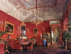 The Large Drawing Room - The Suite of Empress Alexandra Feodorovna at the Winter Palace in Saint Petersburg. Depicted in gouache by court painters c.1850