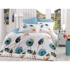 Dose Of Modern Veronika - Turquoise Poplin Single Quilt Cover Set - Turquoise White Brown Beige Linen Bedding, Bedding Sets, Bedding Decor, Bed Linens, Turquoise Duvet Cover, Single Quilt, Hobby House, Quilt Cover Sets, Queen