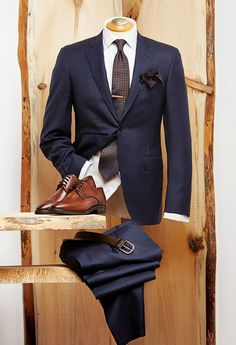 3Navy - Canali shadow stripe suit - Italy Duchamp twill dot french cuff shirt - Portugal Canali silk tie - Italy Eton silk knit pocket square - Italy Liel & Lentz wood tie bar - Toronto Canali embossed belt - Italy Giulio Moretti burnished brogue shoes - Italy