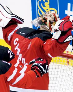 Zachary Fucale celebrating Canada's gole medal in the 2015 IIHF WJC.